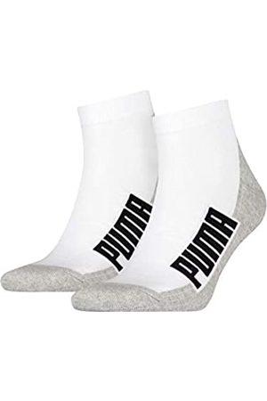 PUMA Unisex-Adult BWT Cushioned Quarter (2 Pack) Socks, White/Grey/Black