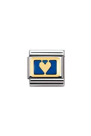 Nomination Classic - LOVE Edelstahl, Email und 18K-Gold (Herz negativ BLAU)
