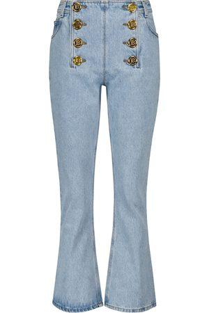 Balmain Damen High Waisted - Verzierte Low-Rise Flared Jeans