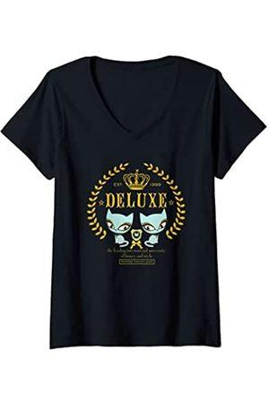 Pussy Deluxe Damen Shirts - Damen Cat kitten neko pussy kat katze chaton royal T-Shirt mit V-Ausschnitt