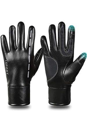 BAIDREN Herren Handschuhe - Winterhandschuhe, PU-Leder, winddicht, warm, Touchscreen-Handschuhe für Herren und Damen, für Radfahren, Laufen