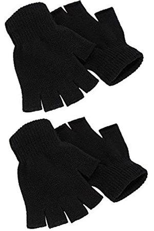Syhood 2 Paare Halbfinger Handschuhe Unisex Warme Winter Fingerlose Handschuhe für Männer Frauen