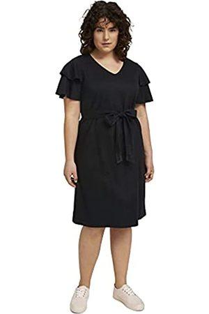 TOM TAILOR Damen 1025540 Plussize Volant Kleid, 14482-Deep Black