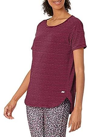 Amazon Patterned Studio Relaxed-Fit Crewneck fashion-t-shirts, Burgundy Stripe