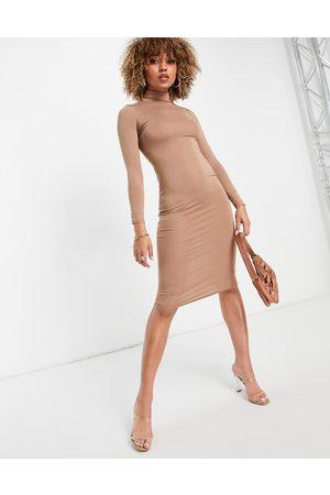 I saw it first – Hochgeschlossenes Midi-Bodycon-Kleid aus Jersey in Kamelbraun-Neutral