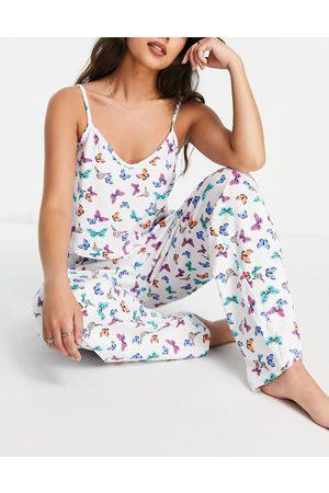 Wednesday's Girl Curve – Pyjama mit Camisole und Hose mit Schmetterlingsprint