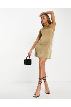 NaaNaa Damen Kleider - – Satin-Kleid mit Rückendetail in Bananengelb