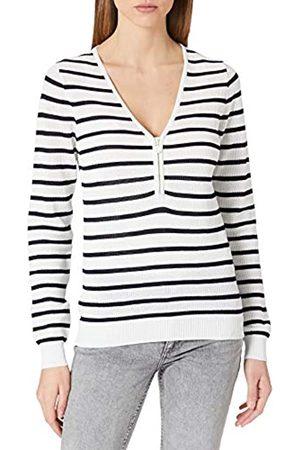 Morgan Damen Pull tricotage Filet Zip MESH Pullover, Off-White/Marineblau