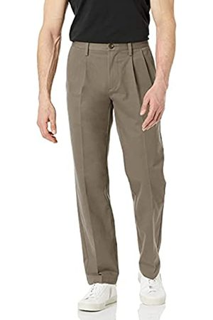 Amazon Classic-Fit Wrinkle-Resistant Pleated Chino Pant Unterhose, Grau (Taupe)