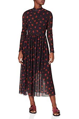 TOM TAILOR Damen Mesh Midikleid Lässiges Kleid, 27182-Black Flower Print