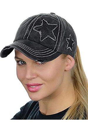 C.C Ponycap Messy High Bun Ponytail Adjustable Glitter Star Distressed Baseball Cap Hat - - Einheitsgröße