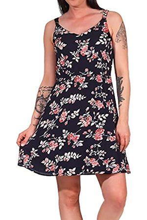 ONLY Damen Kleid ONLKarmen Trägerkleid mit Blumenmuster 15157655 Night Sky/Rose Flowers 34