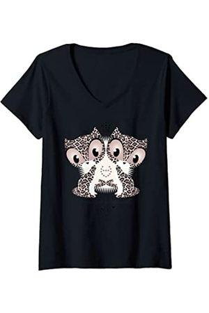 Pussy Deluxe Damen inessential but desirable T-Shirt mit V-Ausschnitt