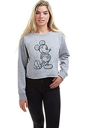 Disney Damen Sweatshirts - Damen Mickey Sketch Cropped Crew Pullover