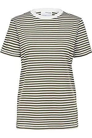 SELECTED Damen SLFMY Perfect SS Tee Box Cut-STRI B NOOS T-Shirt, Kalamata/Stripes:Snow White
