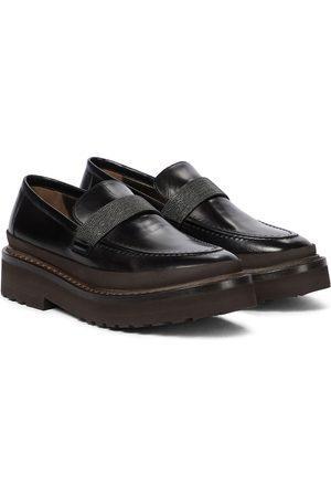 Brunello Cucinelli Verzierte Loafers aus Leder