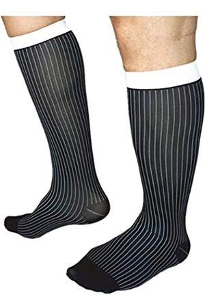 Mr.babuu New 3Pairs Pack Men's Over The Calf Colorful Striped Silky Sheer Dress Socks (Black)