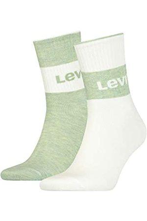 Levi's Unisex-Adult Sustainable Regular Cut (2 Pack) Socks, Green/White