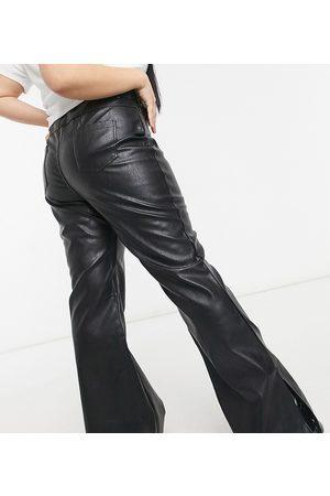 In The Style Damen Leggings & Treggings - X Olivia Bowen – Schlaghose im Leder-Look in mit Saumschlitz