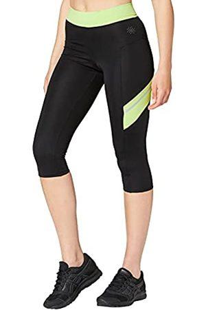 AURIQUE Amazon-Marke: Contrast Panels BAL004 sport leggings damen,Mehrfarbig (Black/Lime)