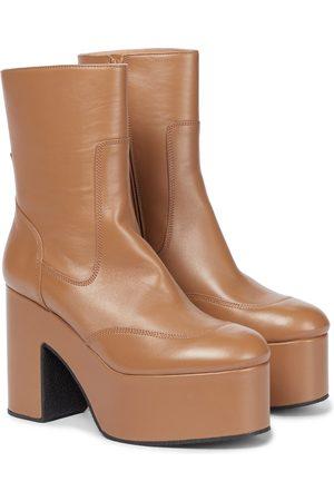 DRIES VAN NOTEN Damen Stiefeletten - Plateau-Ankle Boots aus Leder