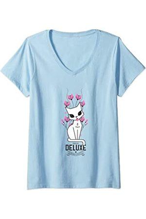 Pussy Deluxe Damen flower cat T-Shirt mit V-Ausschnitt
