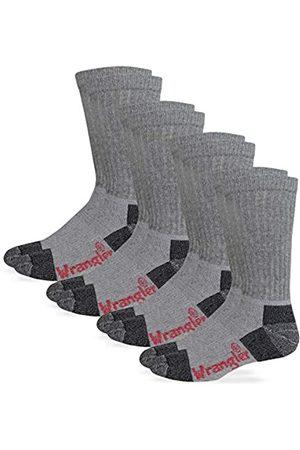 Wrangler Herren Men's Steel Toe Boot Work Crew Cotton Cushion Pair Pack Riggs Socken mit Stahlkappe, Arbeitssocken, Baumwolle, gepolstert, 4 Paar, Größe L