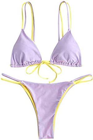 Zaful Damen Bikinis - Womens Dual Straps Two Tone String Bikini Set Low Rise Swimwear