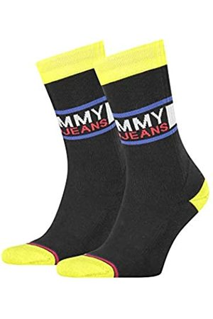 Tommy Hilfiger Unisex-Adult Tommy Jeans Crew (2 Pack) Socks, Black/Yellow