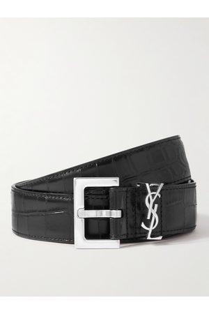 Saint Laurent Herren Gürtel - 3cm Croc-Effect Leather Belt