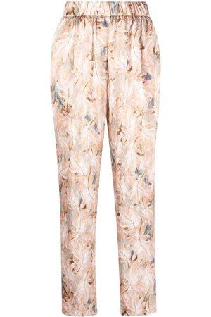 FORTE FORTE Damen Hosen & Jeans - Hose mit Blatt-Print - Nude