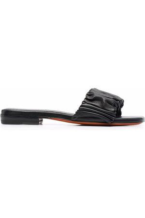 santoni Damen Sandalen - Ruched leather sandals