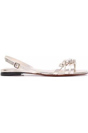 santoni Damen Sandalen - Ruched-detailing leather sandals
