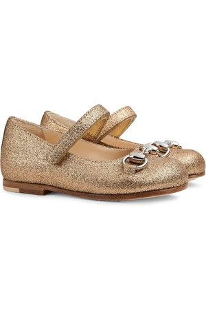 Gucci Horsebit glitter-effect ballerina shoes - Nude