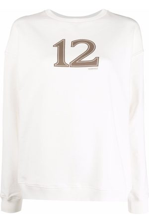 12 STOREEZ Damen Sweatshirts - Logo-print cotton sweatshirt