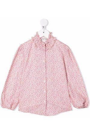 Il gufo Mädchen Blusen - Popeline-Hemd mit Blumen-Print
