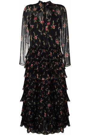 RED Valentino Gestuftes Kleid mit Blumen-Print