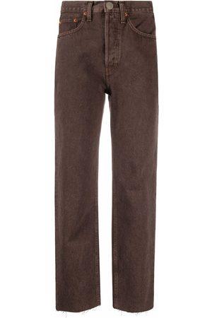 RE/DONE Ausgefranste Straight-Leg-Jeans