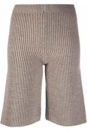ERIKA CAVALLINI Ribbed-knit bermuda shorts - Nude