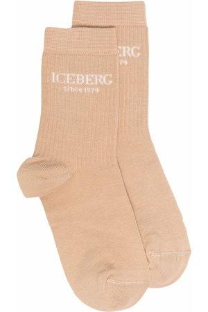 Iceberg Ribbed knit logo socks - Nude