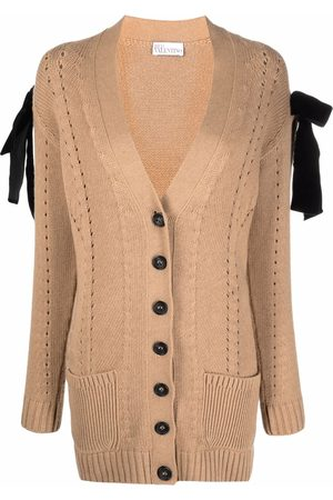 RED Valentino Bow-detail pointelle-knit cardigan - Nude
