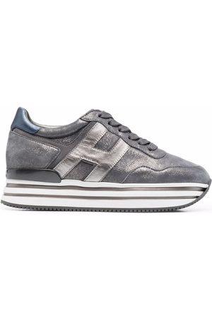 Hogan H482 striped-platform leather sneakers