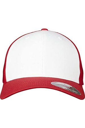 Flexfit Mesh Colored Front Unisex Kappe für Damen und Herren, Mehrfarbig (red/Wht)