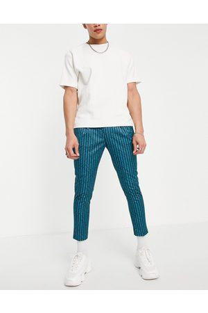 ASOS – Elegante, schmal zulaufende Hose in mit Retro-Streifenmuster und kurzem Schnitt, Kombiteil