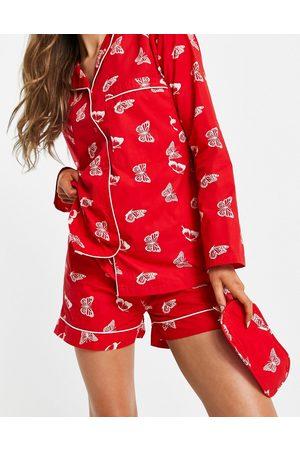 daisy street – Pyjama-Set mit Schmetterlings-Print bestehend aus langärmligem Hemd, Shorts und Schlafmaske