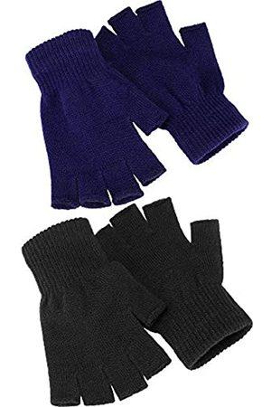 Syhood 2 Paare Halbfinger Handschuhe Unisex Warme Winter Fingerlose Handschuhe für Männer Frauen (