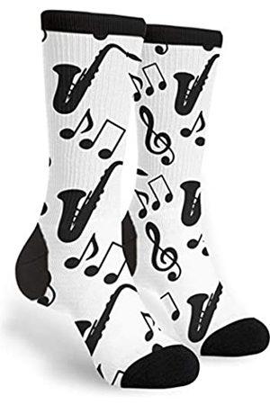 TyQii Socks Socken mit Musiknoten, Violinschlüssel-Saxophon, für Damen und Herren