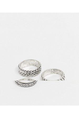 ASOS – Flache Ringe mit Prägung in polierter Silberoptik im 3er-Pack