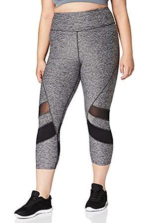 AURIQUE Damen Leggings - Amazon Marke - Damen-Sportlegging in 3/4-Länge mit Farb-Einsätzen, Grau (Grey Marl/Black), 40