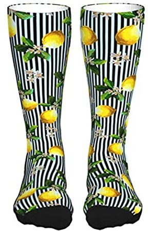Ioaoai Socken für Damen und Herren mit Zitronen-Motiv auf gestreiften Socken